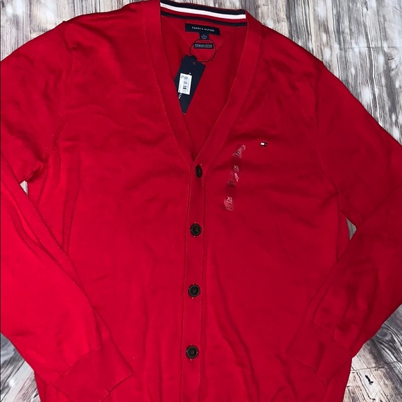 Tommy Hilfiger Other - Tommy Hilfiger men's fall button sweater in red